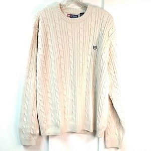 Chaps Cable Knit Sweater Crew Neck Cream XL